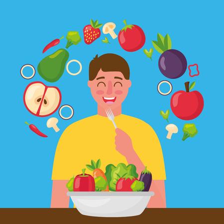 Happy Man Eating Healthy Food Vector Illustration Tasmeemme Com