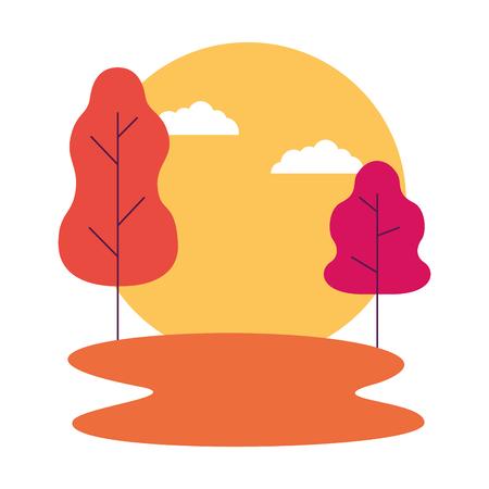 Illustration pour sunset landscape trees outdoors natural vector illustration - image libre de droit
