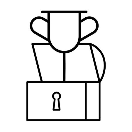 Illustration pour chest treasure trophy on white background vector illustration - image libre de droit