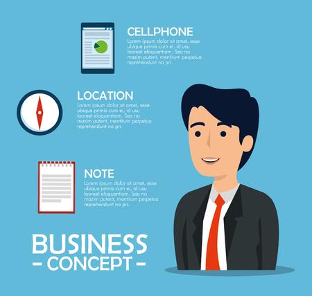 Illustration pour businessman with document information and statistics graphic vector illustration - image libre de droit