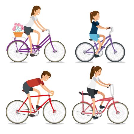 Illustration pour set women and man ride bicycle sport vector illustration - image libre de droit