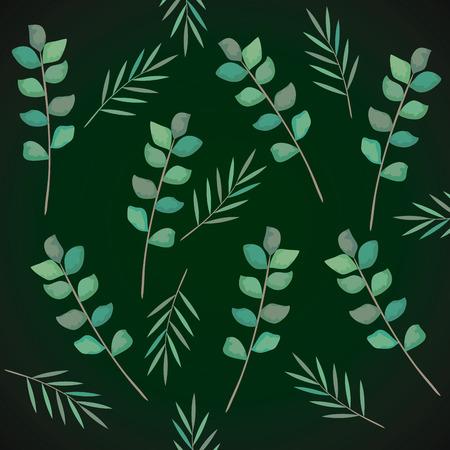 Illustration pour branch with leafs pattern vector illustration design - image libre de droit