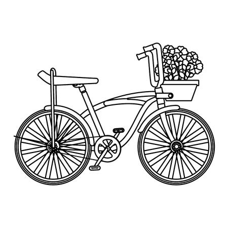Illustration pour retro bicycle with basket and flowers vector illustration design - image libre de droit