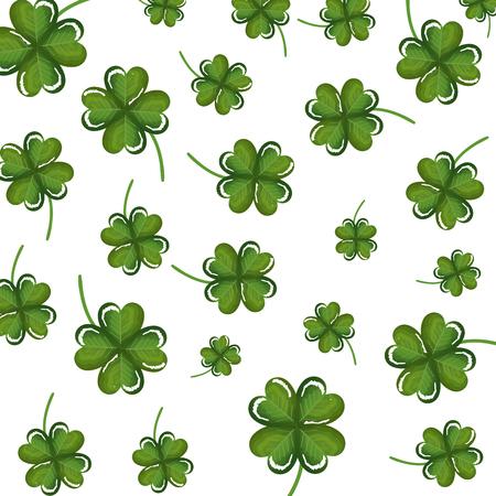 Ilustración de clovers leafs pattern background vector illustration design - Imagen libre de derechos