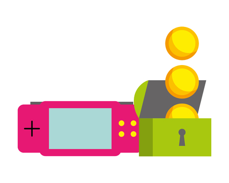 gamepad chest coins video game white background vector illustration