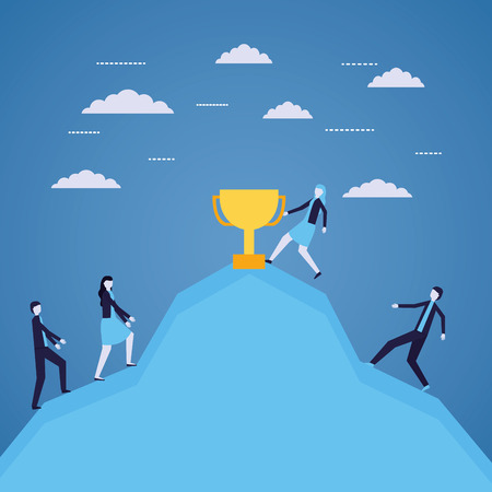 business people success climbing mountain trophy vector illustration