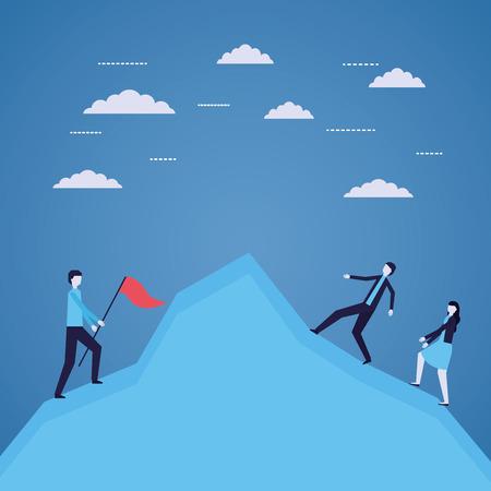 business people success climbing mountain vector illustration