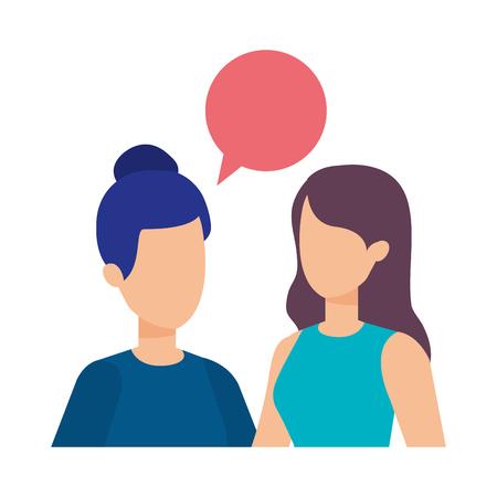 Illustration pour couple of girls with speech bubble vector illustration design - image libre de droit