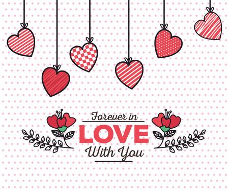 Illustration pour valentines day card with hearts hanging vector illustration design - image libre de droit