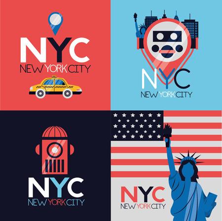 Illustration pour new york city emblem icons vector illustration - image libre de droit