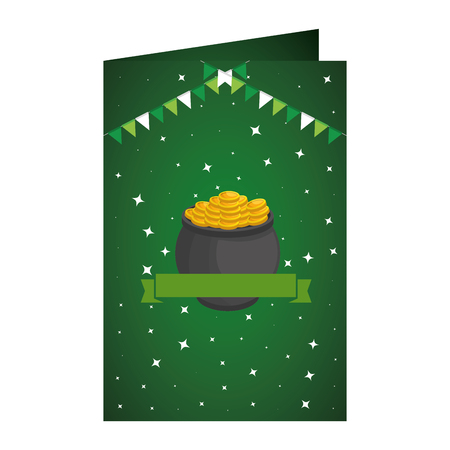 st patricks day card with treasure cauldron vector illustration design