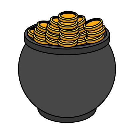 cauldron with coins st patricks day vector illustration design