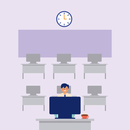 Illustration for daily routine man working office vector illustration - Royalty Free Image