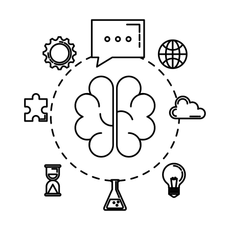 brain storming with set business icons vector illustration design