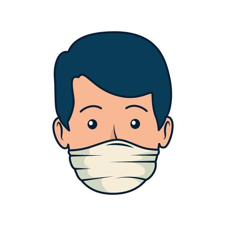 Illustration pour young dentist mouth cover avatar character vector illustration design - image libre de droit