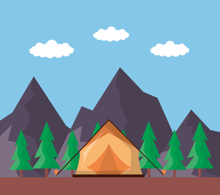 wanderlust tent ladnscape mountains pine trees vector illustration