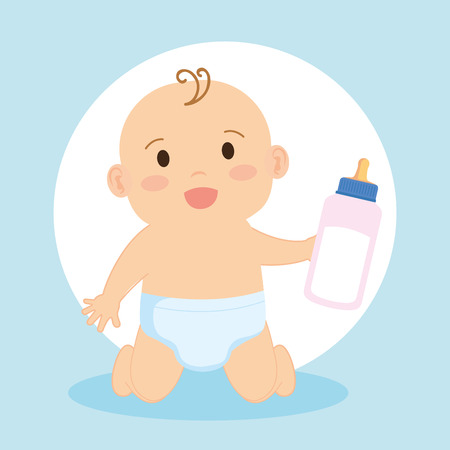 Illustration for cute little baby character vector illustration design - Royalty Free Image