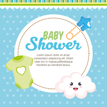 Illustration for baby shower card with set items vector illustration design - Royalty Free Image