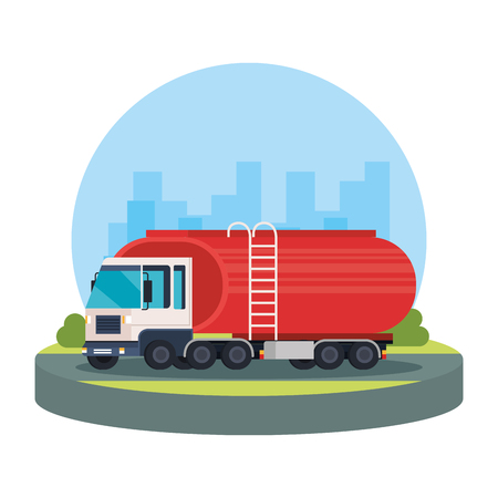 tanker truck logistic service vector illustration design