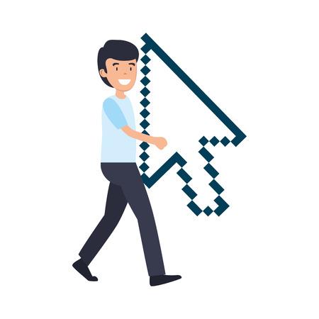 man lifitng arrow mouse pointer vector illustration design