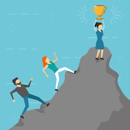 business people climbing mountain trophy vector illustration