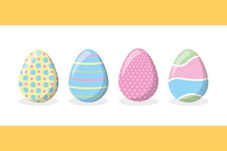 Illustration pour happy easter delicate eggs ornament set vector illustration - image libre de droit