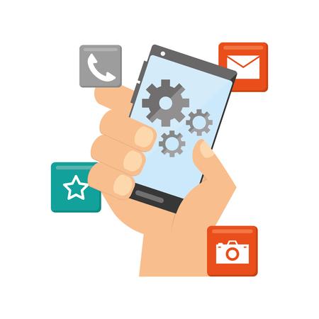 Illustration pour hand with cellphone tools mobile app development vector illustration - image libre de droit