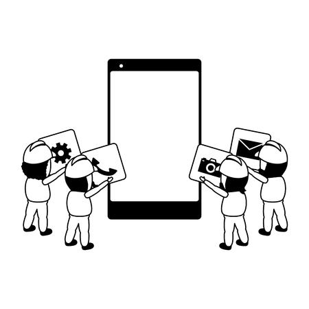 Illustration pour workers put in mobile app development vector illustration - image libre de droit