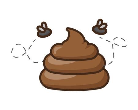 Ilustración de funny poop with flies fools day vector illustration - Imagen libre de derechos