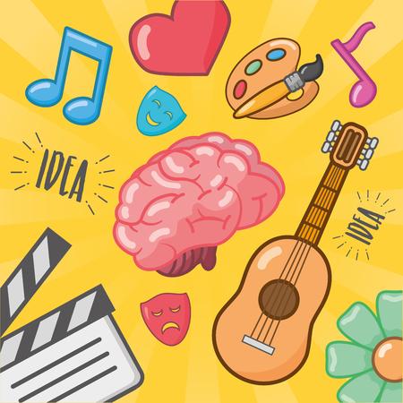 Illustration pour brain idea creativity feeling music arts vector illustration - image libre de droit