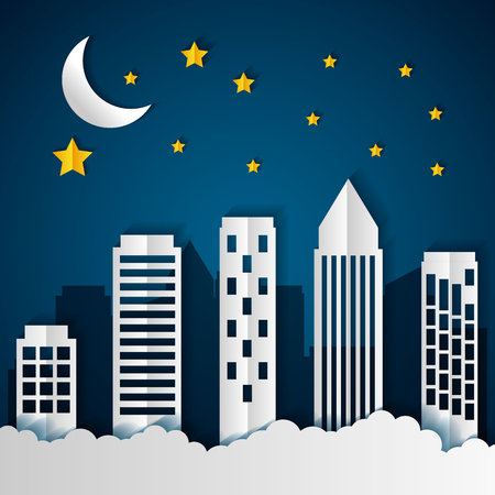 Illustration for buildings night stars paper origami cityscape vector illustration - Royalty Free Image