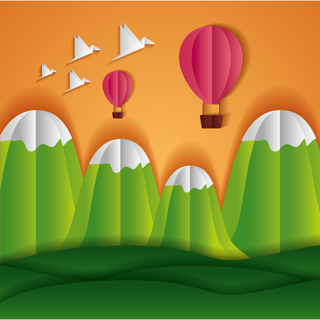 Illustration for hot air balloon mountains birds paper origami landscape vector illustration - Royalty Free Image