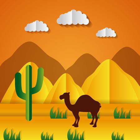 Illustration pour desert camel cactus paper origami landscape vector illustration - image libre de droit