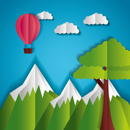 mountains tree and hot air balloon paper origami landscape vector illustrationのイラスト素材