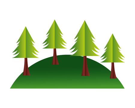 Illustration pour trees hill paper origami landscape vector illustration - image libre de droit