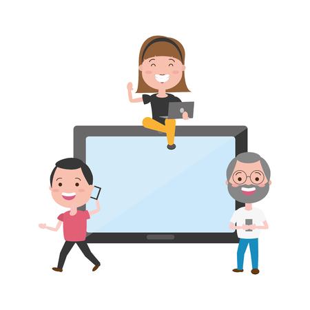 Illustration pour people with smartphone laptop tech device vector illustration - image libre de droit