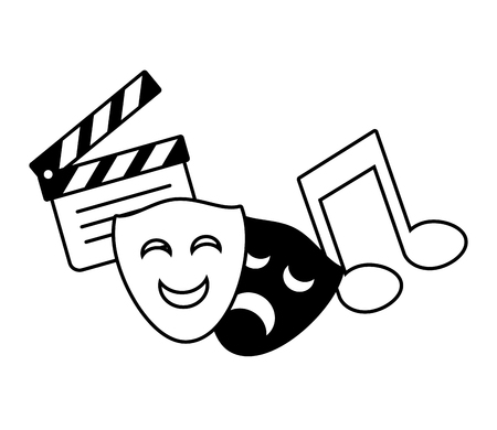 Illustration for theater mask music note movie vector illustration - Royalty Free Image