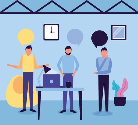 Illustration pour team men workspace business work vector illustration - image libre de droit