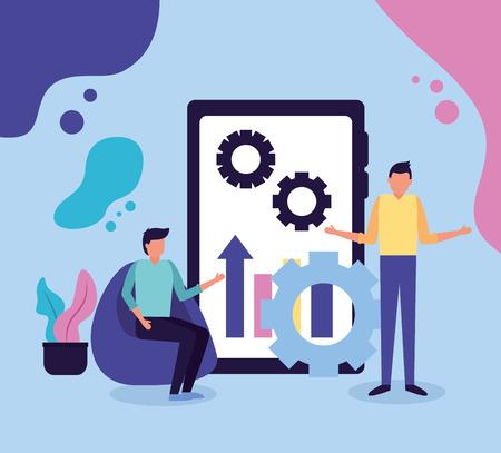 Vektor für two men mobile chart gear business work vector illustration - Lizenzfreies Bild