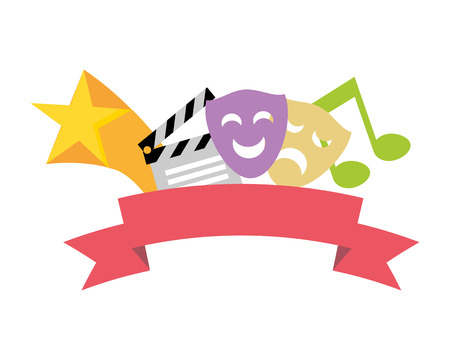 Illustration for artistic masks theater clapperboard music vector illustration - Royalty Free Image