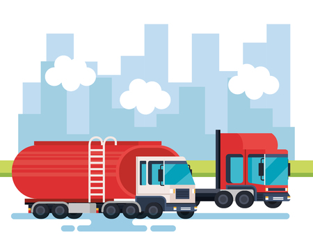 tanker trucks logistic service vector illustration design
