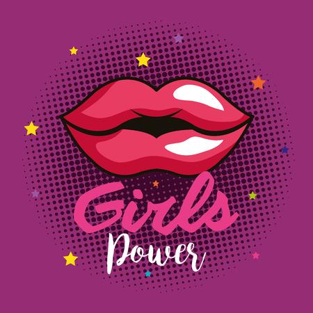Illustration pour power girl card with woman lips vector illustration design - image libre de droit