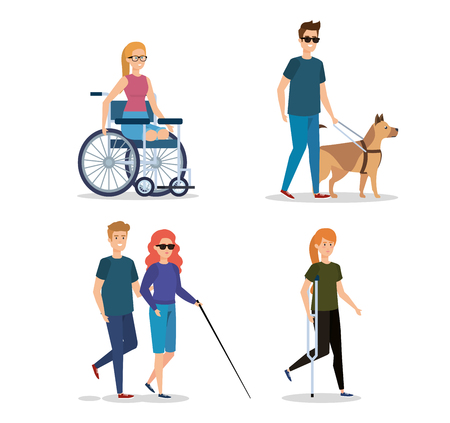 Illustration pour set rehabilitation people with disabled and physical injury vector illustration - image libre de droit