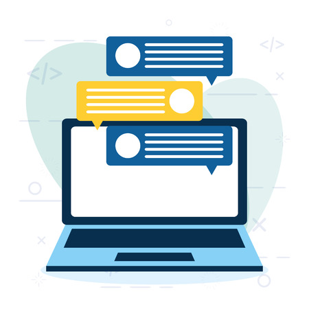 Illustration pour online shopping laptop chat message vector illustration - image libre de droit