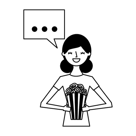 Illustration for woman holding popcorn speech bubble vector illustration - Royalty Free Image