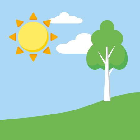 landscape nature sun tree sky vector illustration