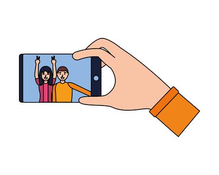 Illustration pour happy couple taking selfie with smartphone vector illustration - image libre de droit