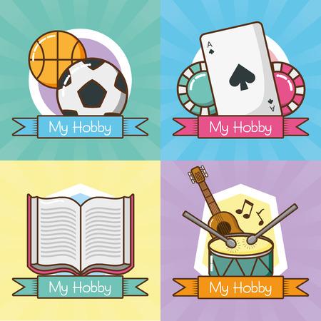 Illustration pour my hobbies collection differents activities vector illustration design - image libre de droit