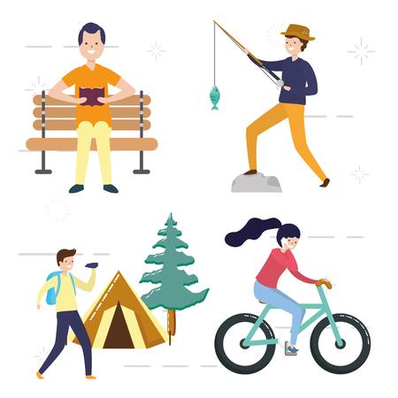 Illustration pour my hobbies people with activities vector illustration vector illustration - image libre de droit