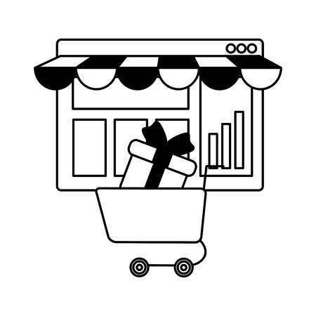 Illustration pour webpage template with ecommerce cart shopping vector illustration design - image libre de droit